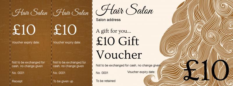 voucher design - hair salon gift vouchers template